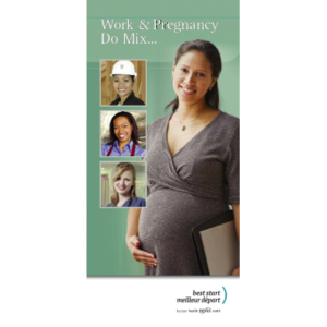 "Cover of the ""Work and Pregnancy Do Mix…"" brochure"