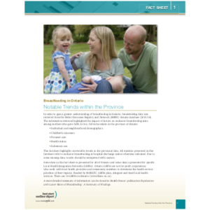 "Cover of the ""Breastfeeding in Ontario, Fact Sheet #1: Notable Trends within the Province"""