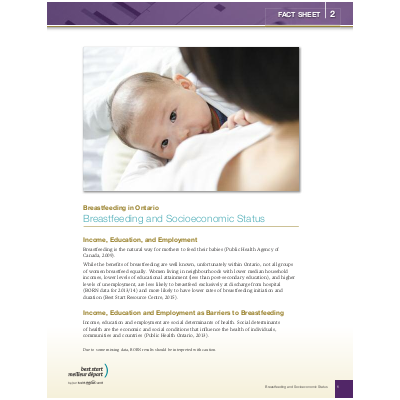 "Couverture de la fiche ""Breastfeeding in Ontario, Fact Sheet #5: Socio-economic status"""