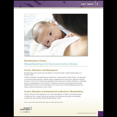 "Couverture de la fiche ""Breastfeeding in Ontario, Fact Sheet #5: Socio-economic status"""