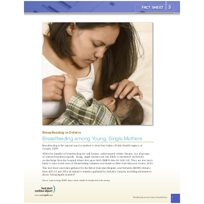 Cover of the Breastfeeding in Ontario, Fact Sheet #3: Breastfeeding among Young Single Mothers