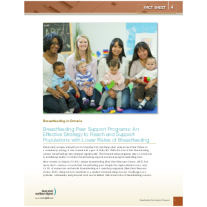 "Couverture de la fiche ""Breastfeeding in Ontario, Fact Sheet #4: Breastfeeding Peer Support, An Effective Strategy to Reach and Support Populations with Lower Rates of Breastfeeding"""