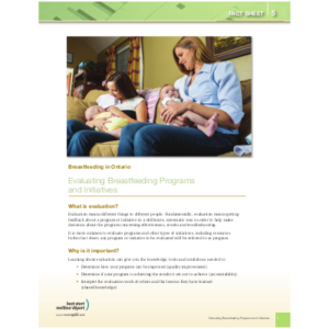"Couverture de la fiche ""Breastfeeding in Ontario, Fact Sheet #5: Evaluating Breastfeeding Programs and Initiatives"""