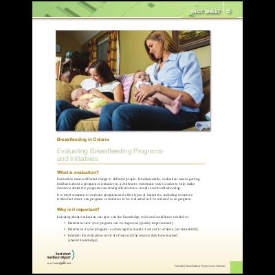 "Couverture de la fiche ""Breastfeeding in Ontario, Fact Sheet #5: Evaluating Breastfeeding Programs and Initiatives"""