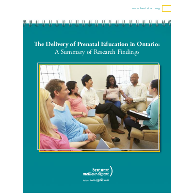 "Couverture du rapport ""The Delivery of Prenatal Education in Ontario: A Summary of Research Findings"""