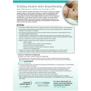 "First page of the ""Alcohol and Breastfeeding"" desk reference"