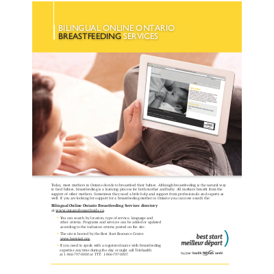 Snapshot of the Bilingual Online Ontario Breastfeeding Services Directory Flyer/Aperçu du Prospectus promotionnel du répertoire en ligne bilingue des services d'allaitement de l'Ontario