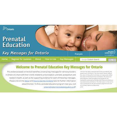 "Capture d'écran du site web "" Prenatal education, key messages for Ontario"""
