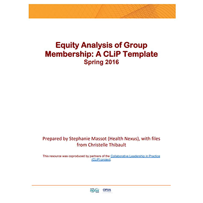 "Couverture de l'outil "" Equity Analysis of Group Membership: A CLiP Template"""
