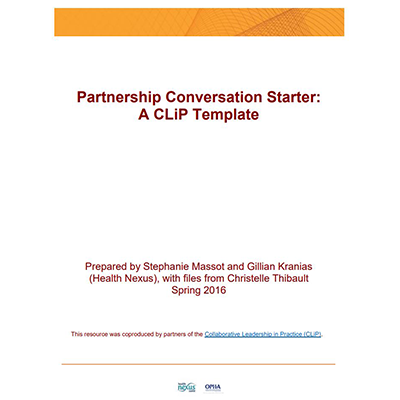 "couverture de l'outil ""Partnership Conversation Starter: A CLiP Template"""