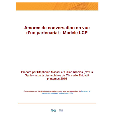 "Cover of the tool ""Amorce de conversation en vue d'un partenariat : Modèle LCP"""