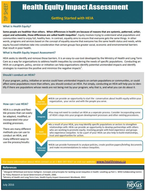 "First page of the ""Health Equity Impact Assessment: Getting Started"" tip sheet"