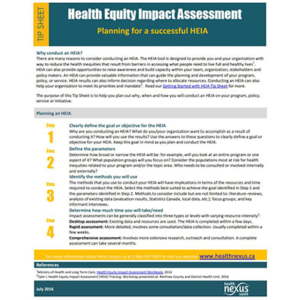 "First page of the ""Health Equity Impact Assessment: Planning for a successful HEIA"" tipsheet"