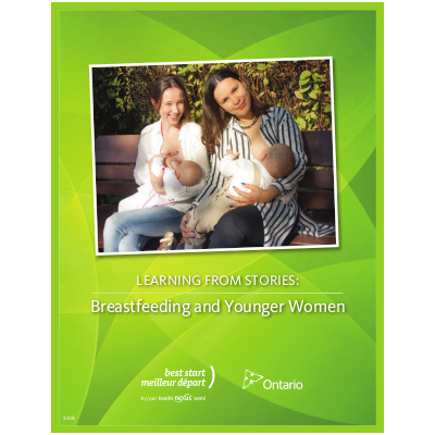 "Cover of the ""Learning from Stories: Breastfeeding and Younger Women"" booklet"