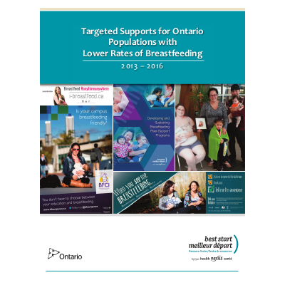 "Couverture du rapport"" Targeted Supports for Ontario Populations with Lower Rates of Breastfeeding"""