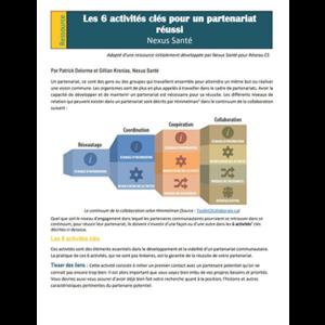 """Cover of the """"Les 6 activités clés pour un partenariat réussi"""" manual"""