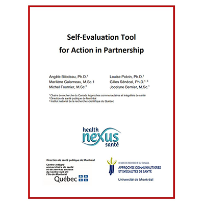 "Cover of the tool ""Self-Evaluation Tool for Action in Partnership"""