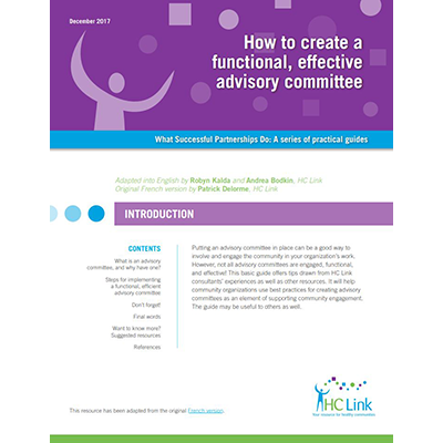 "Couverture du manuel ""How to create a functional, effective advisory committee"""