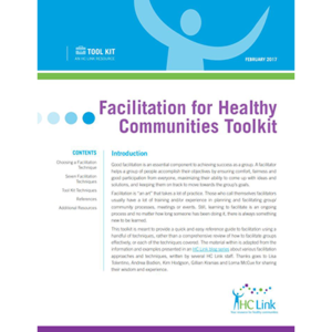 """First page of the """"Facilitation for Healthy Communities Toolkit"""" tool"""