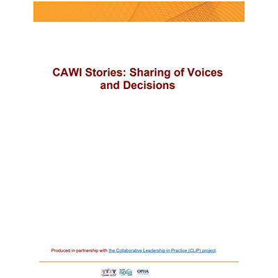 "Cover of the ""CAWI Stories: Sharing of Voices and Decisions"" manual"