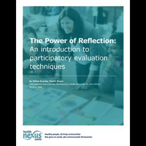 "Couverture du manuel ""The Power of Reflection: An introduction to participatory evaluation techniques"""