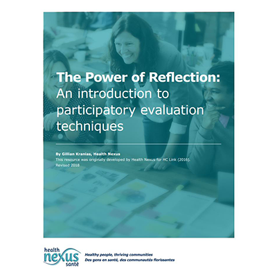"Couverture du manuel ""The Power of Reflection: An introduction to participatory evaluation techniques"""