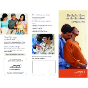 "Snapshot of the brochure ""Be Safe: Have an Alcohol-Free Pregnancy"""