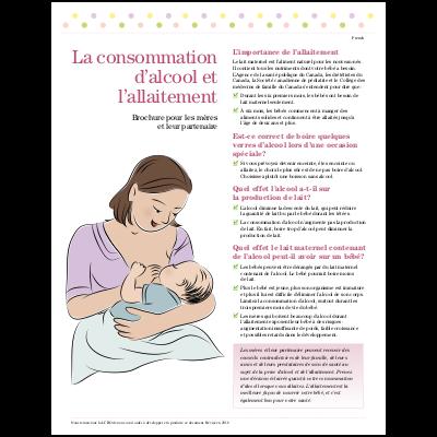 """Couverture et première page de la brochure """"La consommation d'alcool et l'allaitement"""""""
