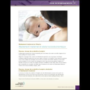 première page de la fiche d'information sur l'allaitement maternel et le statut socio-économique