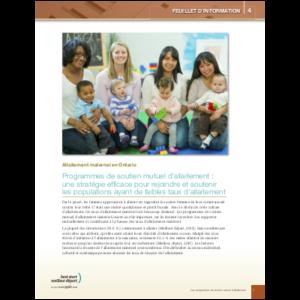 Couverture de la fiche d'information no 4: Programme d'entraide à l'allaitement maternel, une stratégie efficace pour rejoindre et soutenir les populations ayant de faibles taux d'allaitement