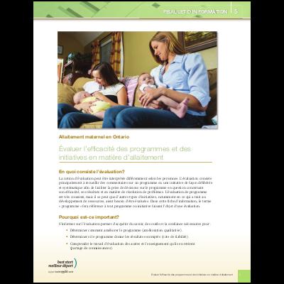 Couverture de la fiche d'information no 5: Évaluer l'efficacité des programmes et des initiatives en matière d'allaitement.