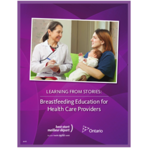 "Cover of the booklet titled "" Learning from Stories: Breastfeeding Education for Health Care Providers"""