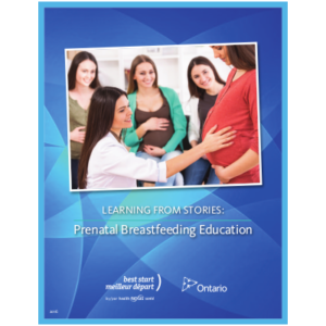 "Cover of the booklet titled ""Learning from Stories: Prenatal Breastfeeding Education"""