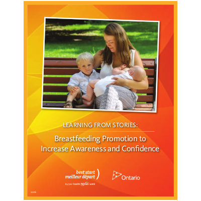 "Cover of the booklet titled ""Learning from Stories: Breastfeeding Promotion to Increase Awareness and Confidence"""
