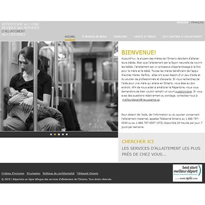Capture d'écran du répertoire des services d'allaitement