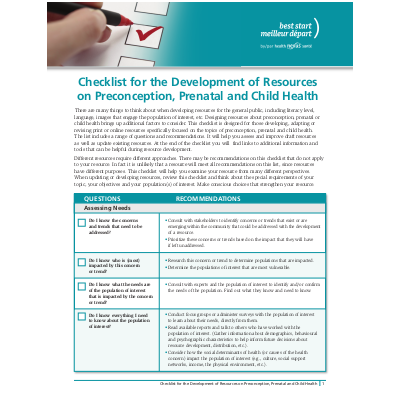 First page of the Checklist for the development of resources...