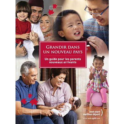 "Cover of the ""Grandir dans un nouveau pays"" manual for parents"