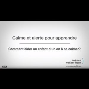"""Capture d'écran de la vidéo """"Calme et alerte pour apprendre"""" au moment du titre"""
