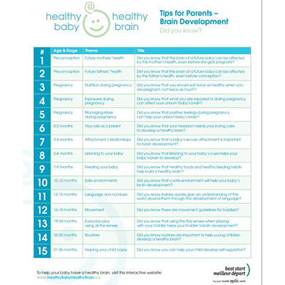 First page of the Heahty Baby Healthy Brain Tips for Parents handouts