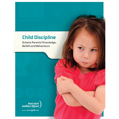"Cover of the ""Child discipline, Parents knowledge in Ontario"" report"