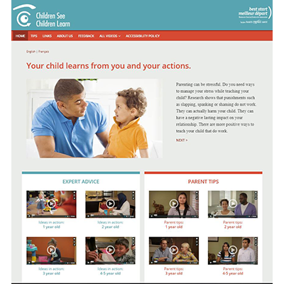 Welcome screen of the Children See, Children Learn website