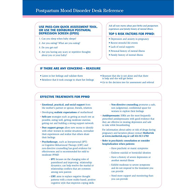 First page of the Post Partum Mood disorders desk reference