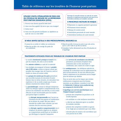 première page du tableau de référence sur la depression post partum