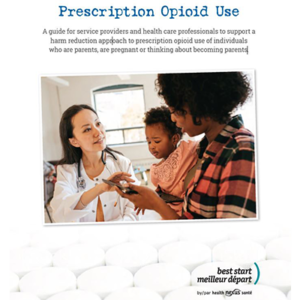 Cover page of the Prescription Opioid Misuse guide: Mom with baby in her arms looking at a screen a service provider is showing her.